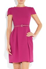 Alice + Olivia Belted Crepe Dress in Purple (fuchsia) - Lyst