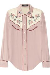 Isabel Marant Laury Floral-Embroidered Crepe Shirt - Lyst