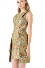 Matthew Williamson Brocade Cutout Dress in Gold (mint) - Lyst