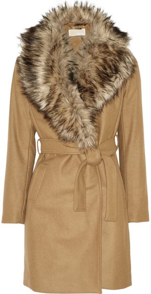 Michael by Michael Kors Detachable Faux Fur Collar Wool-Blend Coat - Lyst