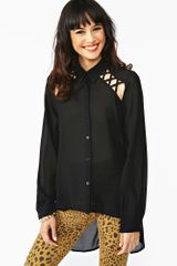 Nasty Gal Laced Tail Blouse  - Lyst