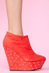 Nasty Gal Studded Wedge Boot Red - Lyst