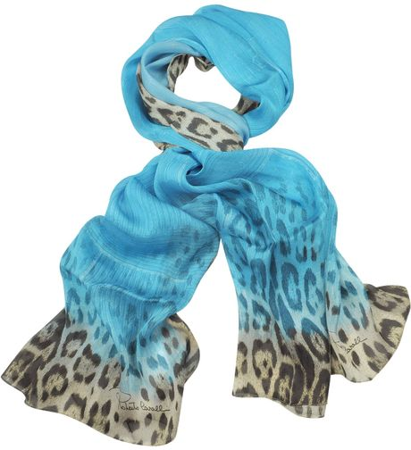 Roberto Cavalli  Leopard Silk Long Scarf in Blue - Lyst