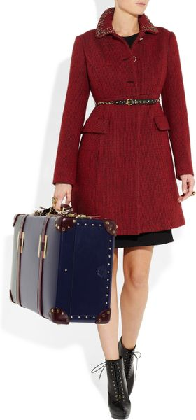 Sophie Hulme Leather Suitcase In Blue Navy Lyst
