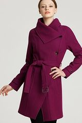 Andrew Marc Double Breasted Belted Funnel Coat - Lyst