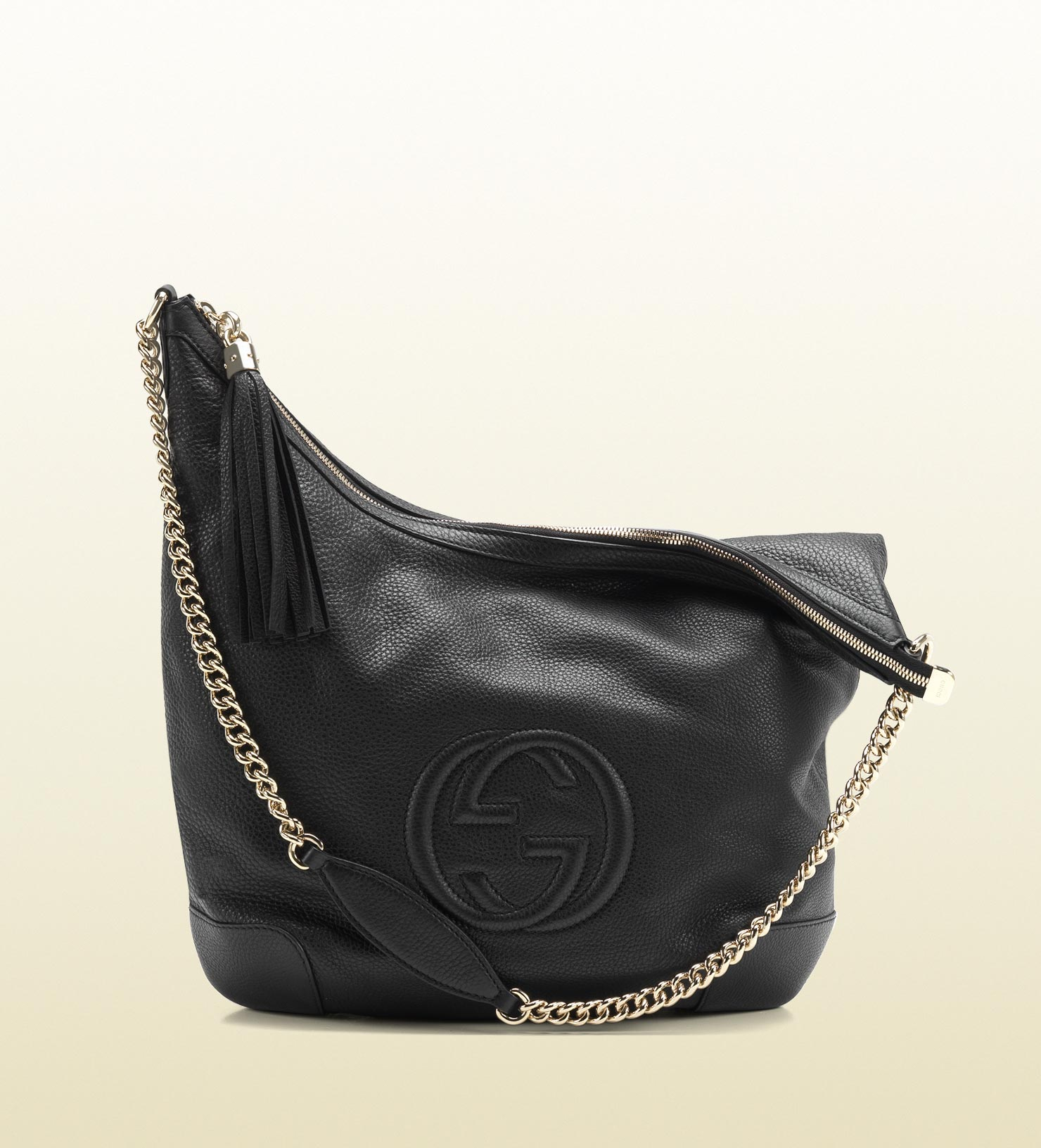 a250b9b3c5273a Lyst - Gucci Soho Black Leather Shoulder Bag with Chain Strap in Black