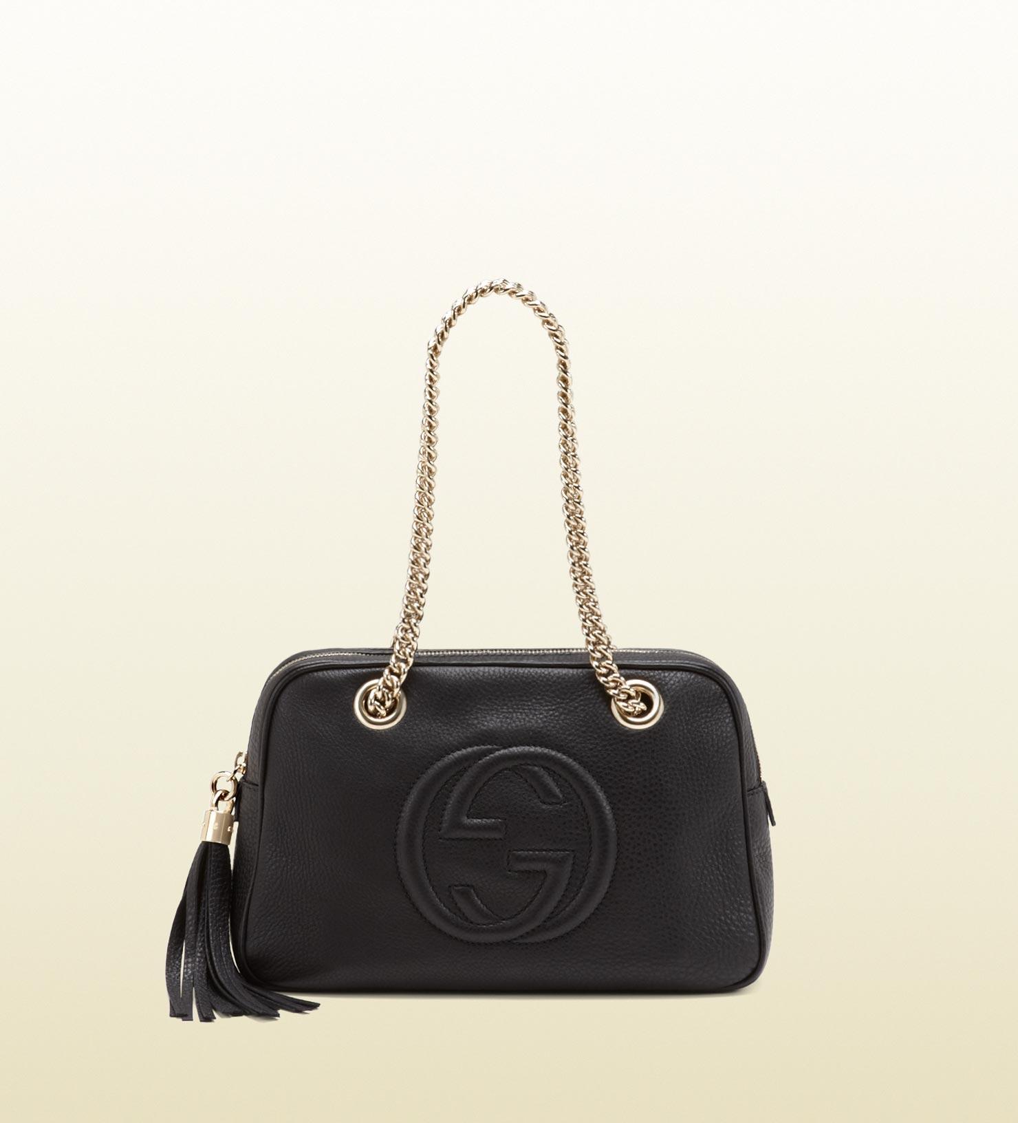 f76881f71323 Gucci Soho Leather Shoulder Bag in Black - Lyst