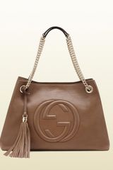 Gucci Soho Medium Maple Brown Leather Tote with Chain Straps - Lyst