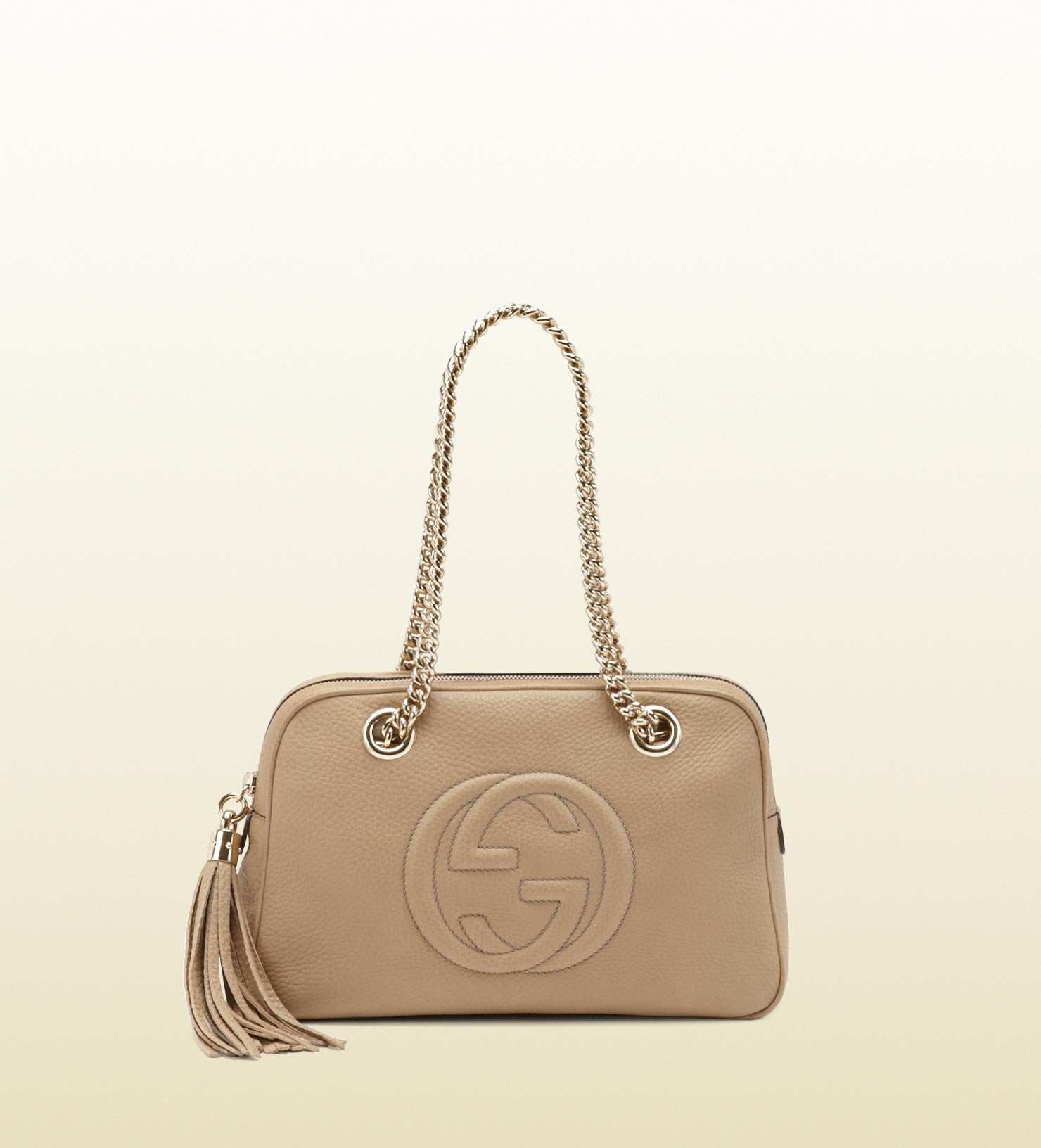 0aa24816e4cd Lyst - Gucci Soho Leather Shoulder Bag in Natural