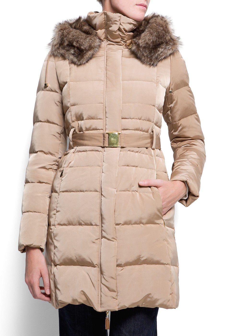 Mango Furry Hood Quilted Coat Lyst