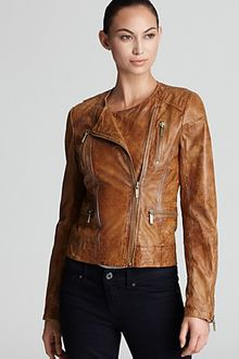 Michael Kors Michael Motorcycle Leather Jacket - Lyst