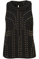 Topshop Bead Collar Shell Top - Lyst