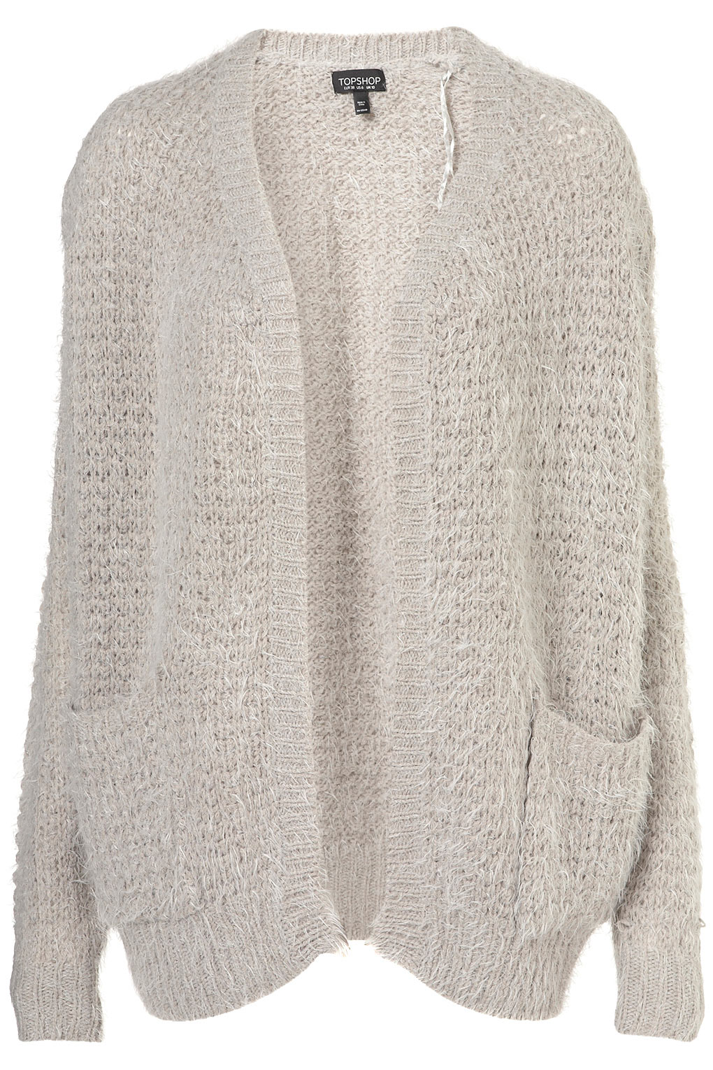 Topshop Knitted Fluffy Stitch Cardigan in Gray | Lyst
