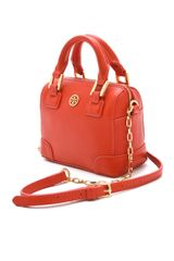 Tory Burch Robinson Shrunken Satchel in Orange - Lyst