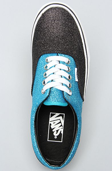 Vans The Era Sneaker in Scuba and Black Glitter in Blue  black Vans Blue And Black Glitter