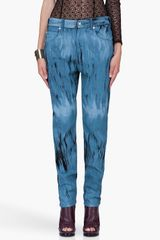 Versus  Tapered Blue Printed Trousers - Lyst