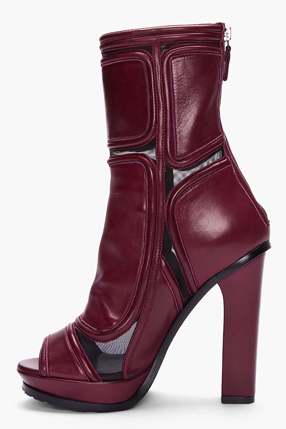 Versus Burgundy Paneled Leather Ankle Boots Lyst
