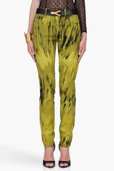 Versus  Tapered Yellow Printed Trousers - Lyst