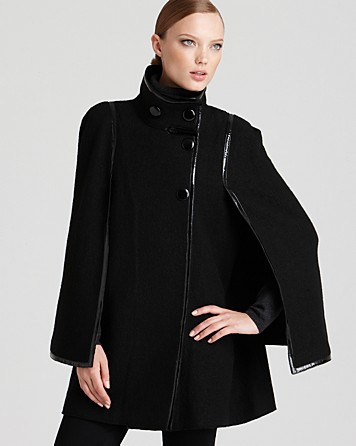 Via spiga Cape Coat in Black | Lyst