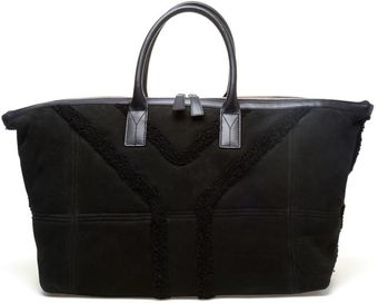 Saint Laurent Shearling and Suede Holdall - Lyst