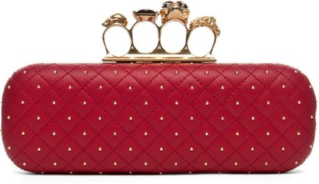 Alexander Mcqueen Knuckle Box Long Clutch in Cherry in Red (cherry) - Lyst