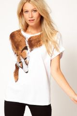 ASOS Collection Asos Tshirt with Fox Wrap - Lyst