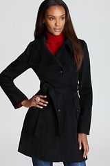 DKNY Single Breasted Convertible Collar Belted Trench Coat - Lyst