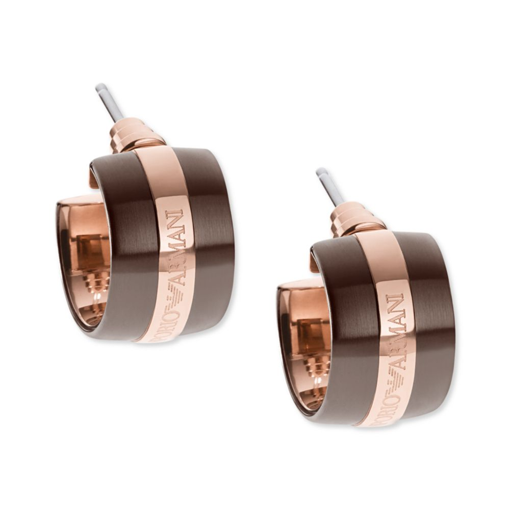 999545697 Emporio Armani Brown Ion Plated and Rose Gold Ion Plated Stainless ...