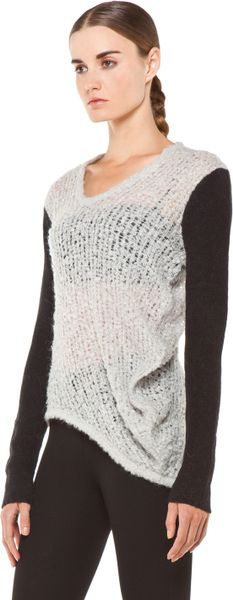 Helmut Lang Plaited Boucle Cowl Sweater In Putty In Gray
