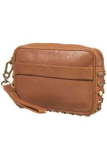 Topshop Leather Studded Clutch - Lyst