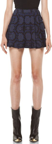 Versus  Pleated Mini Skirt in Midnight - Lyst