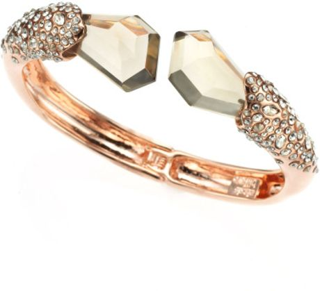 Alexis Bittar Bel Air Rose Gold Large Druzy Two Stone Hinge Bracelet in Pink (rose gold) - Lyst