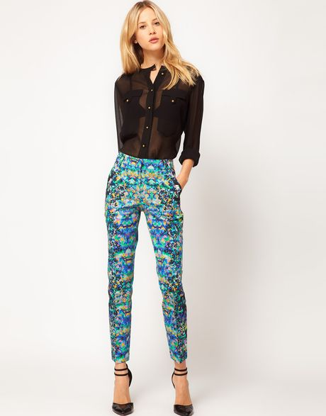 Asos Collection Asos Crop Trousers in Floral Print in Blue (greenprint) - Lyst