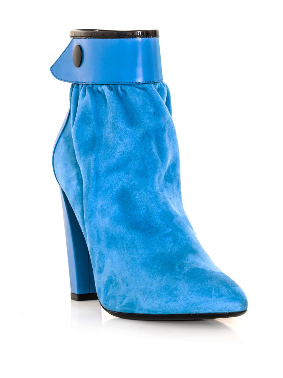 Lyst - Balenciaga Gathered Suede Ankle Boots in Blue feb2f4f59