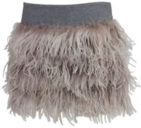 Brunello Cucinelli Feather Mini Skirt in Beige (mauvc078) - Lyst