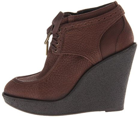 burberry brogue leather platform wedge boots in brown