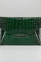 Givenchy Antigona Crocodile Embossed Envelope Clutch Bag - Lyst