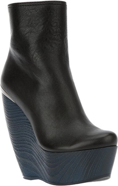 Lanvin Wedge Ankle Boot in Blue (black) - Lyst