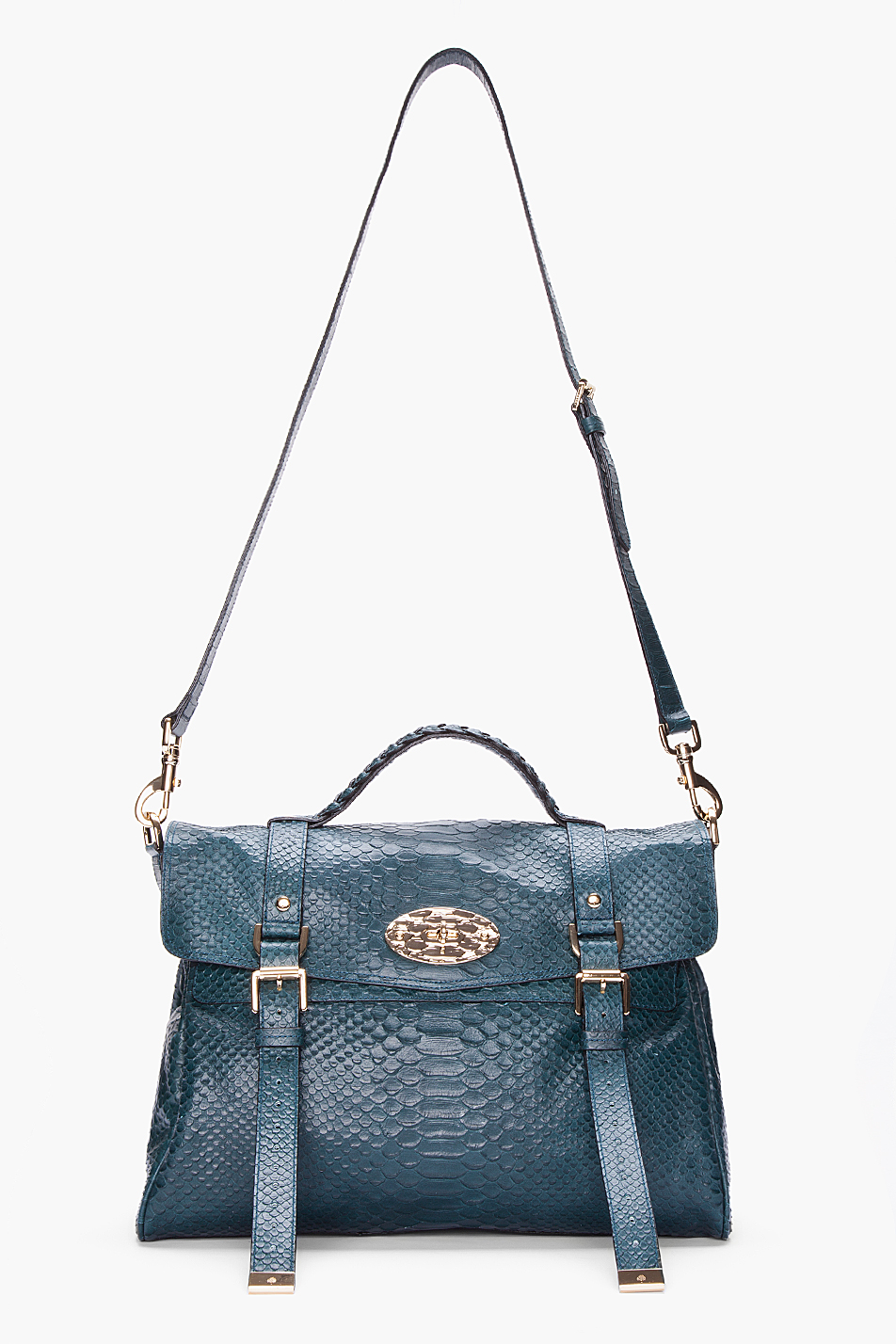 5384853a52 Lyst - Mulberry Oversized Alexa Silky Snake Print Bag in Blue