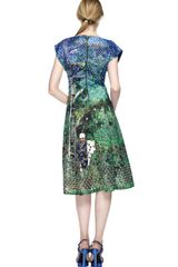 Proenza Schouler Tree Scene Print Short Sleeve Flare Dress in Blue (tree scene print) - Lyst