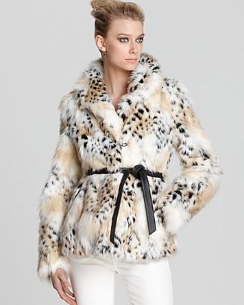 Rachel Zoe Jacket Macgraw Faux Fur With Tie In Animal