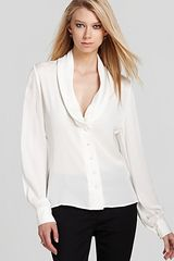 Rachel Zoe Top Eleanor Pleated Shawl Collar - Lyst