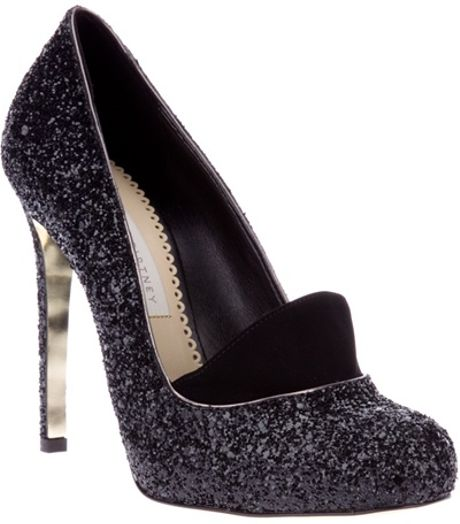 Stella Mccartney Glitter High Heels in Black - Lyst