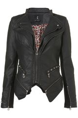Topshop Zip Pu Jacket By Rare in Black - Lyst