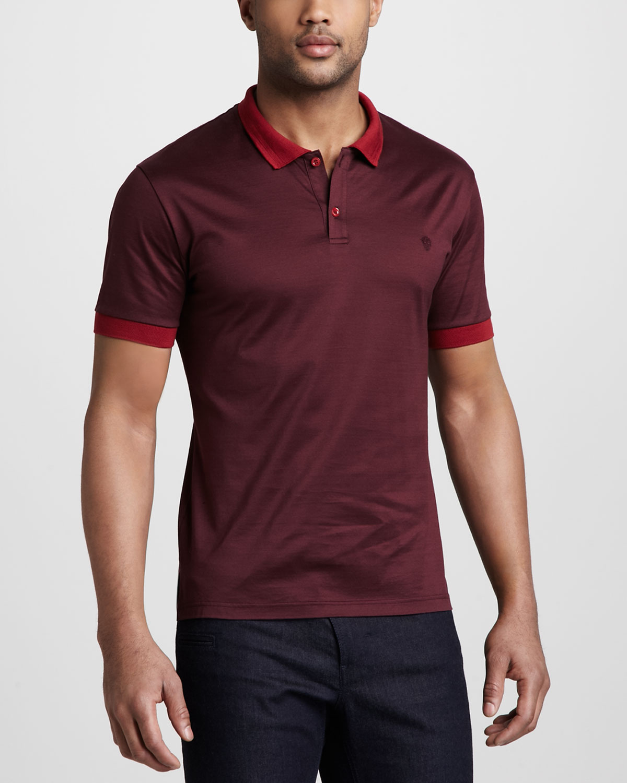 Lyst alexander mcqueen logo polo shirt in purple for men for Alexander mcqueen shirt men
