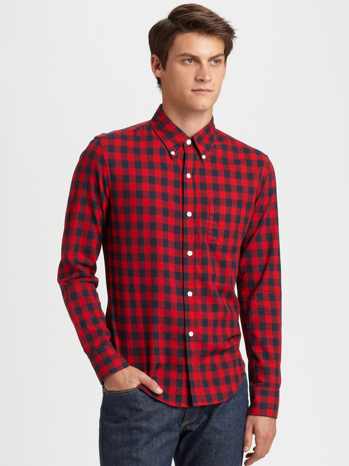 lyst band of outsiders buffalo check shirt in red for men