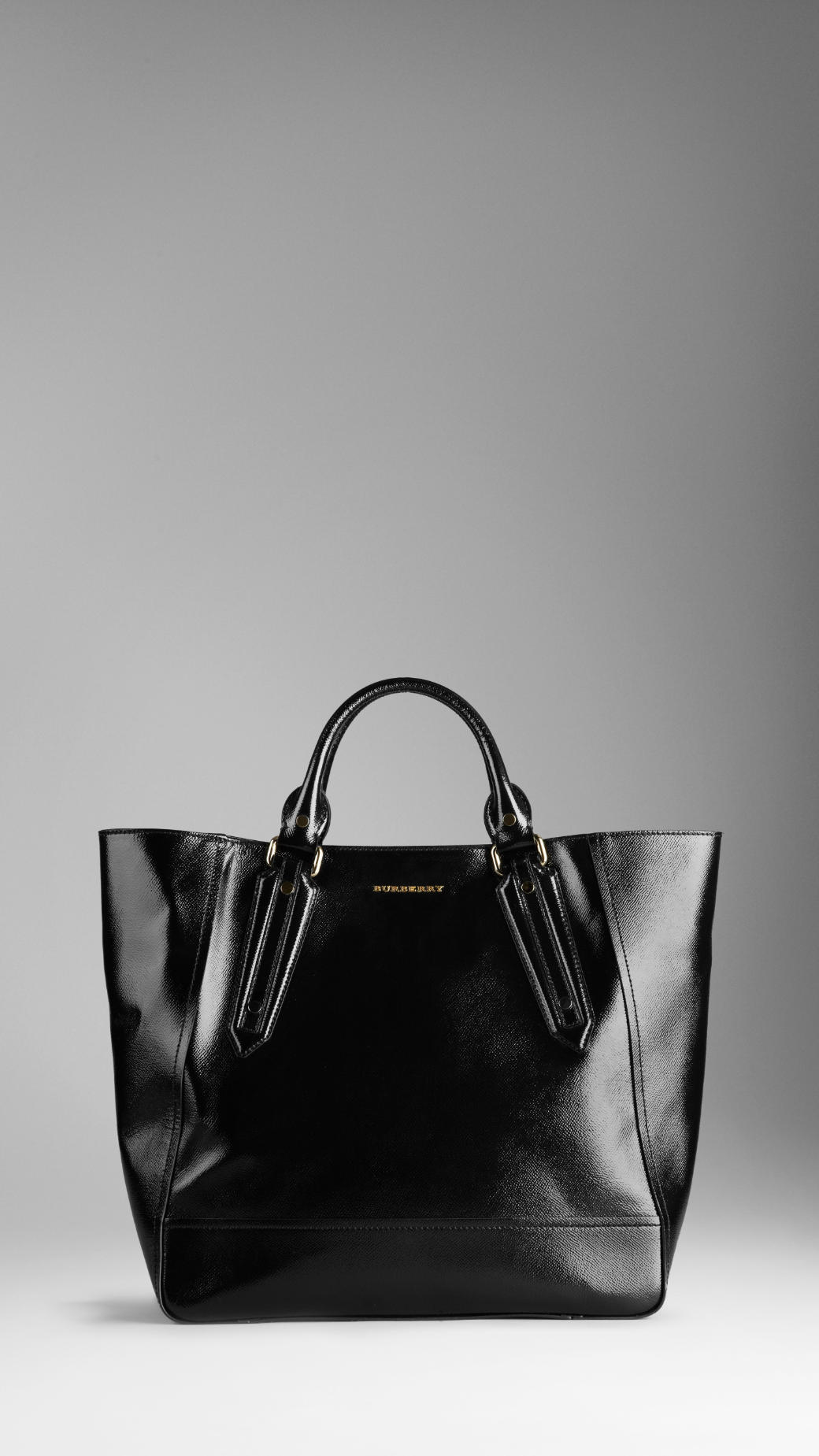 Lyst - Burberry Large Patent London Leather Portrait Tote Bag in Black ef42fa51310d4