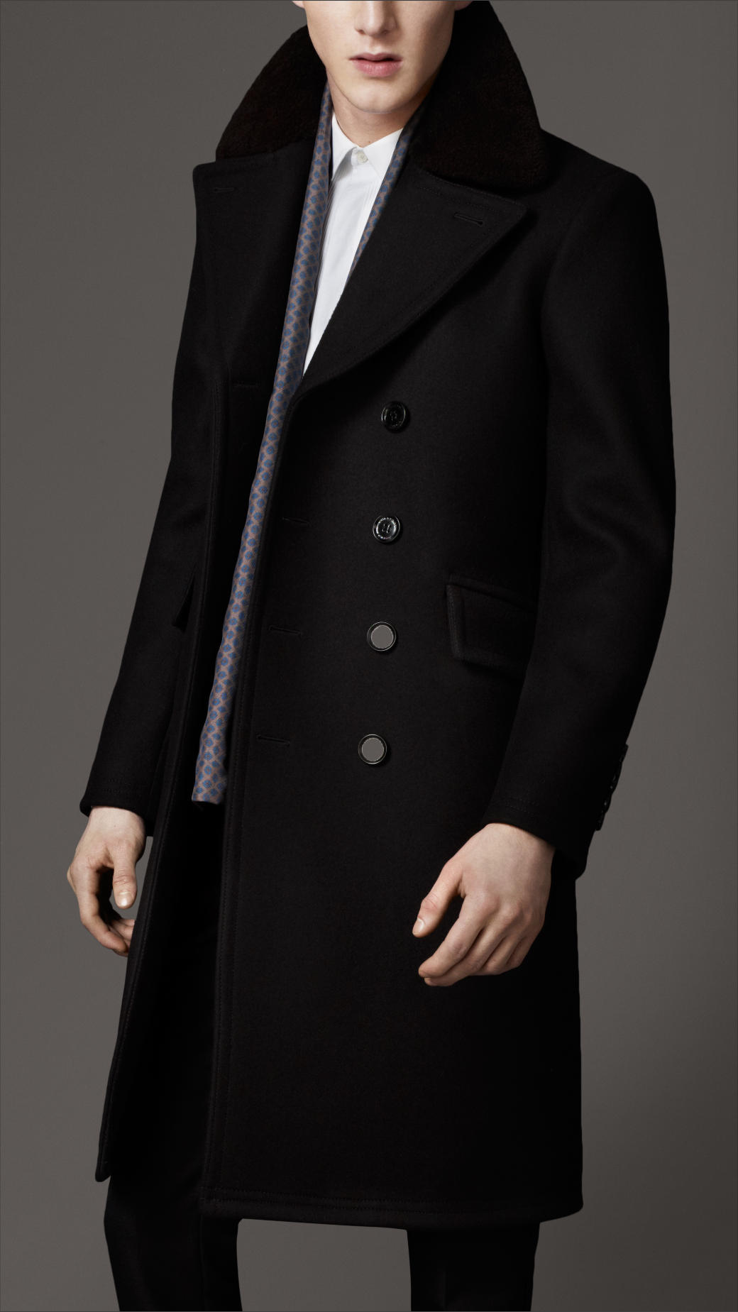 Burberry Virgin Wool Chesterfield Coat in Black for Men | Lyst