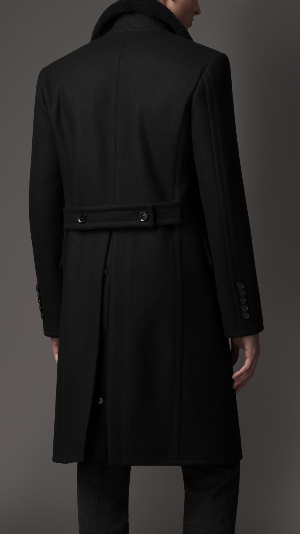 Lyst Burberry Virgin Wool Chesterfield Coat In Black For Men