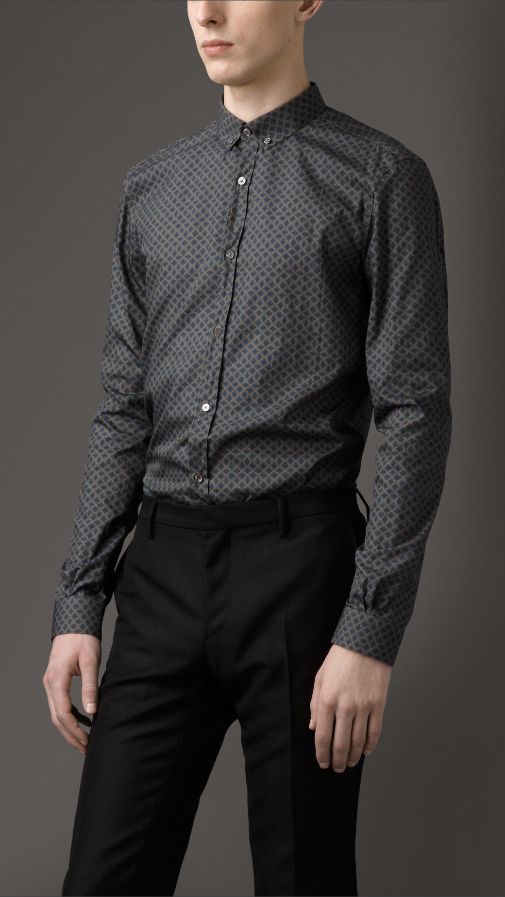 Burberry Slim Fit Buttondown Shirt in Gray for Men | Lyst